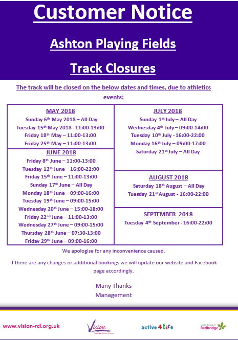 Ashton Track Closures May 2018